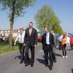 Landrat Krebs, Herr Mäurer und Bürgermeister Hugk beim Maifest