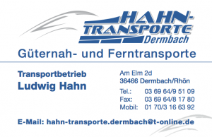 Hahn Transporte Dermbach Visitenkarte