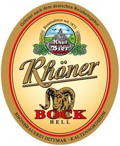 Etikett Rhöner Bock der Rhönbrauerei Dittmar aus Kaltennordheim